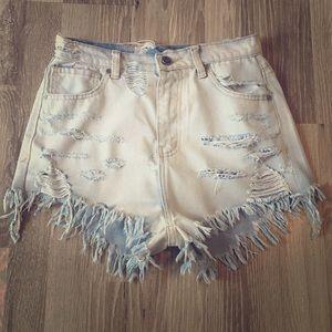 UNIF cut offs Jean shorts light denim vintage high